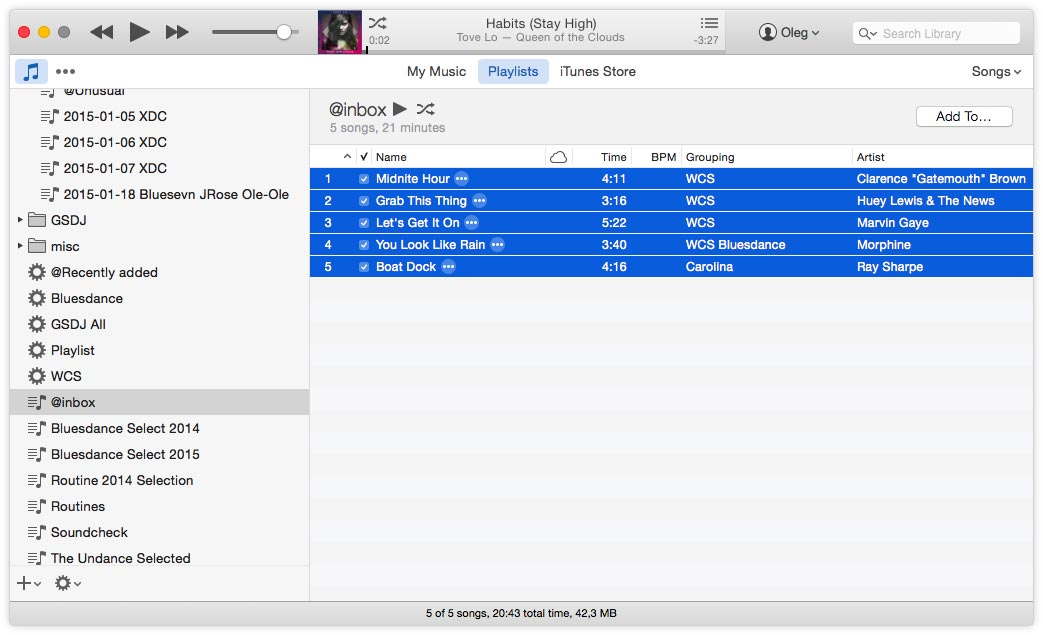 Create iTunes palylist and select tracks